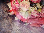 Pink Rose Bouquet On Grunge Textured ,