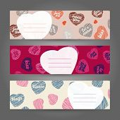 Set of Valentine's Day horizontal banners. Hearts ornament. Vector Illustration.