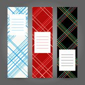 Set of Vertical Tartan Banners. Abstract Geometric ornament. Vector Illustration.