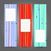 Set of Vertical Colorful Banners. Abstract Geometric ornament. Vector Illustration.