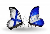 Two Butterflies With Flags On Wings As Symbol Of Relations Finland And  Honduras