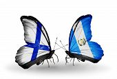 Two Butterflies With Flags On Wings As Symbol Of Relations Finland And  Guatemala