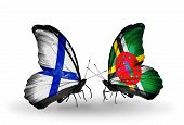 Two Butterflies With Flags On Wings As Symbol Of Relations Finland And Dominica