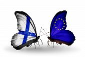 Two Butterflies With Flags On Wings As Symbol Of Relations Finland And European Union