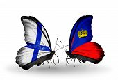 Two Butterflies With Flags On Wings As Symbol Of Relations Finland And Liechtenstein