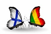 Two Butterflies With Flags On Wings As Symbol Of Relations Finland And  Mali