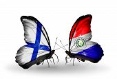 Two Butterflies With Flags On Wings As Symbol Of Relations Finland And Paraguay