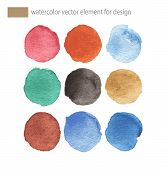 Colorful Vector Isolated Watercolor Paint Circles.