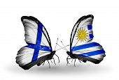 Two Butterflies With Flags On Wings As Symbol Of Relations Finland And Uruguay