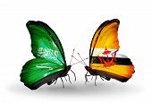 Two Butterflies With Flags On Wings As Symbol Of Relations Saudi Arabia And Brunei