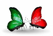 Two Butterflies With Flags On Wings As Symbol Of Relations Saudi Arabia And Waziristan
