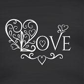 Love you. Blackboard background. Vector illustration