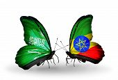 Two Butterflies With Flags On Wings As Symbol Of Relations Saudi Arabia And Ethiopia