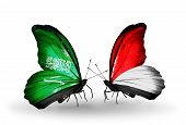 Two Butterflies With Flags On Wings As Symbol Of Relations Saudi Arabia And Monaco, Indonesia