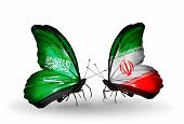 Two Butterflies With Flags On Wings As Symbol Of Relations Saudi Arabia And Iran