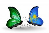 Two Butterflies With Flags On Wings As Symbol Of Relations Saudi Arabia And Kazakhstan