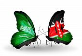 Two Butterflies With Flags On Wings As Symbol Of Relations Saudi Arabia And Kenya