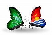 Two Butterflies With Flags On Wings As Symbol Of Relations Saudi Arabia And Kiribati