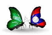 Two Butterflies With Flags On Wings As Symbol Of Relations Saudi Arabia And Laos