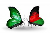 Two Butterflies With Flags On Wings As Symbol Of Relations Saudi Arabia And Malawi