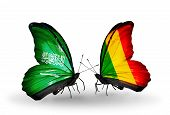 Two Butterflies With Flags On Wings As Symbol Of Relations Saudi Arabia And Mali
