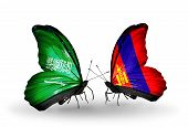 Two Butterflies With Flags On Wings As Symbol Of Relations Saudi Arabia And Mongolia