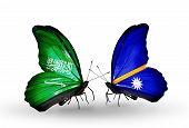 Two Butterflies With Flags On Wings As Symbol Of Relations Saudi Arabia And Nauru