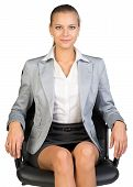 Businesswoman on office chair