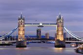 picture of london night  - Tower Bridge with reflections in the thames river at sunset in London United Kingdom England - JPG