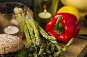 Fresh Green Asparagus Spears With Red Bell Pepper