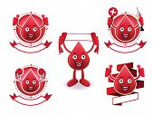 Cartoon smiling blood banner set