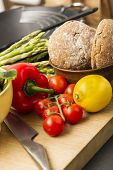 Healthy Fresh Vegetables And Wholegrain Rolls