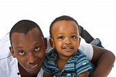 Young afro american family