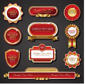 red golden promo stickers quality seals and ribbons