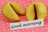 Good morning card with fortune cookies on pink dotty cloth
