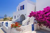 White architecture of Fira town on Santorini island, Greece