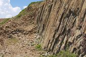 Hexagonal columns of volcanic origin at the Hong Kong Global Geopark in Hong Kong, China.