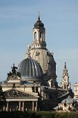 Domes of the Church of Our Lady (Frauenkirche) and the Academy of Fine Arts in Dresden, Saxony, Germany.