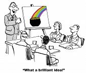 picture of pot gold  - Cartoon of business people in a meeting looking at their boss who is congratulating them on a brilliant new idea by showing on a chart a rainbow ending with a pot of gold - JPG