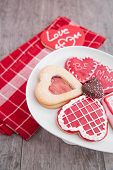 Plate Of Valentine Cookies On Rustic Table