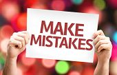 Make Mistakes card with colorful background with defocused lights