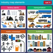 Industry map elements for generating your own infographics, maps.