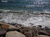 Waves Crashing On Coast