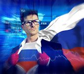Businessman Superhero Country Russia Flag Culture Power Concept