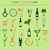 Alcohol drinks icons. 16 flat icons set.