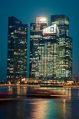 Singapore,december 20,2013: View Of The City Skyline At Night In Singapore