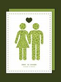 Vector abstract green natural texture couple in love silhouettes frame pattern invitation greeting c