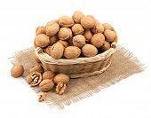 wicker basket full of walnuts