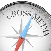 detailed illustration of a compass with cross media text, eps10 vector