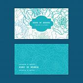 Vector blue line art flowers horizontal frame pattern business cards set